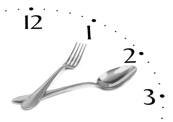 Κουτάλι και πιρούνι, δείκτες ρολογιού.